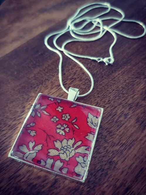 Large red  square Liberty of London fabric pendant on long chain