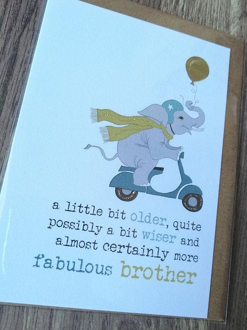 Fabulous Brother Birthday card