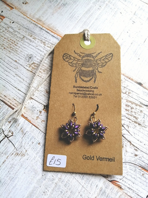 Purple and gold beaded earrings