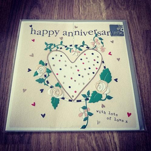 Happy Anniversary card - spotty heart
