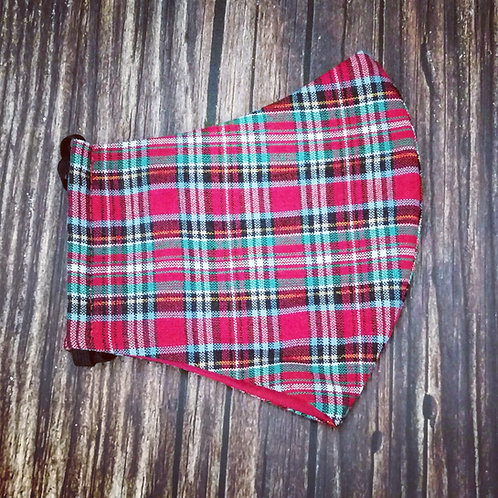 Female adult face coverings -  tartan red