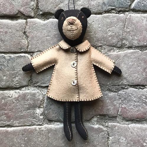 Felt bear in jacket - Freddie