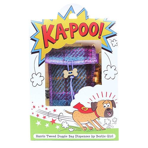 KA-POO!  -Teal Harris Tweed doggy bag dispenser
