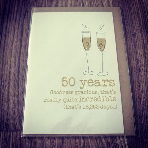 50 years wedding anniversary card with glasses