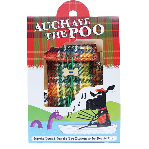 Auch Aye The Poo!  Orange check Harris Tweed doggy bag dispenser