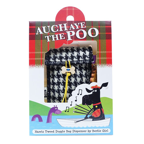 Auch Aye The Poo!  Black and white dogtooth Harris Tweed doggy bag dispenser