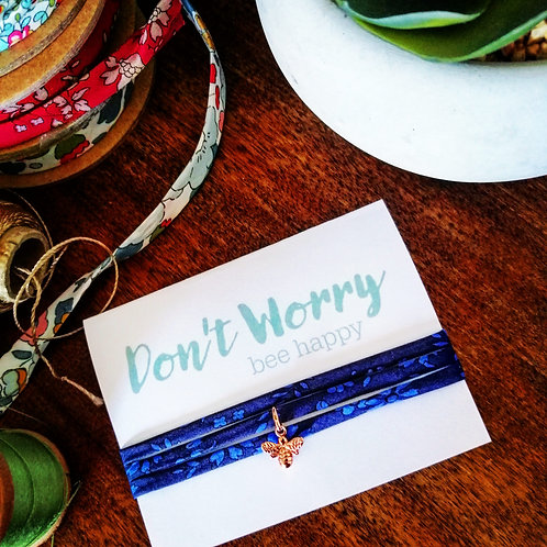 Don't worry bee happy bracelet - Liberty fabric