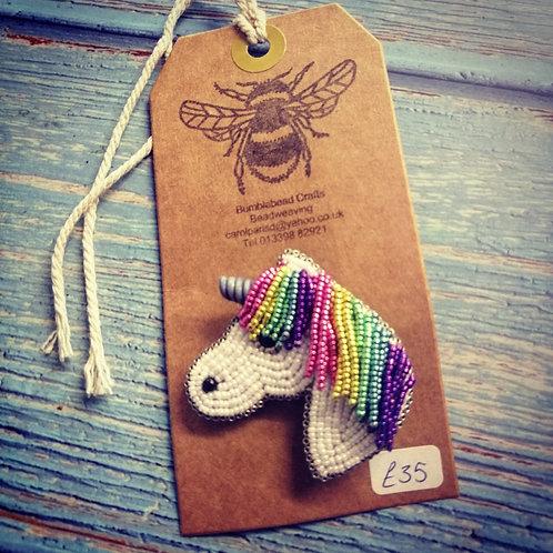 Rainbow unicorn brooch