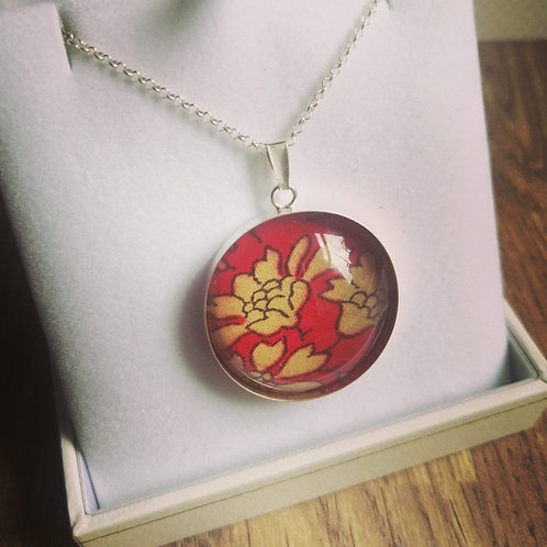Red Capel Liberty of London fabric Sterling silver pendant