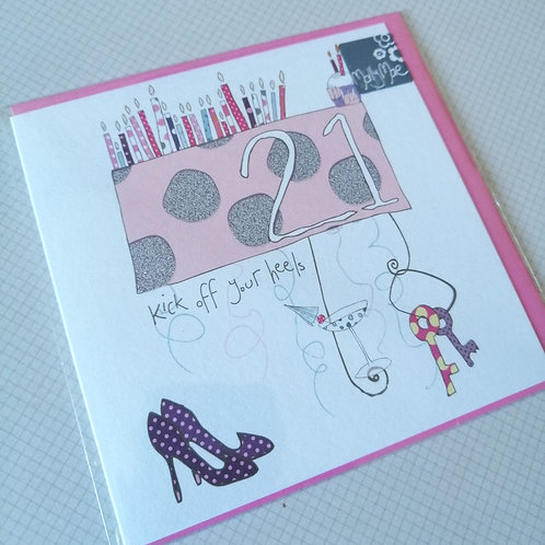21st Birthday card - pink or blue