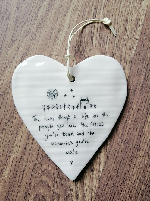 Porcelain hanging heart