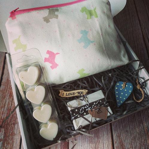 Dog  print make up bag Mother's Day Gift Box