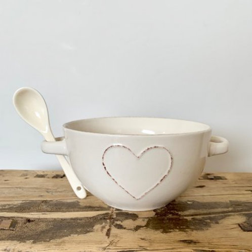 Shabby chic heart shaped bowl with handles
