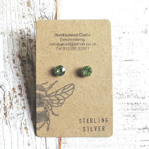 Lime green Sterling silver swarovski studs