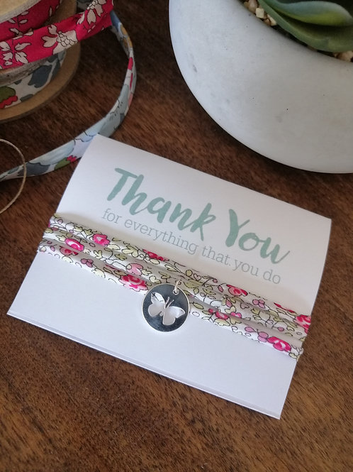 Thank you, for everything you do bracelet - Liberty fabric