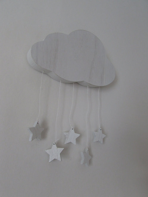 Wooden cloud with hanging stars