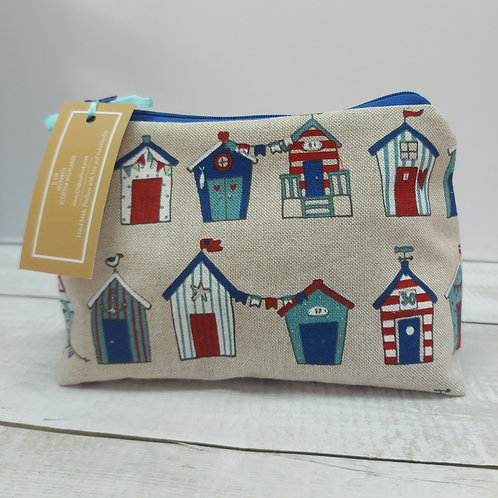 Beach hut print make up bag