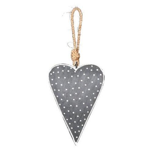 Hanging grey Nordic heart, 8cm