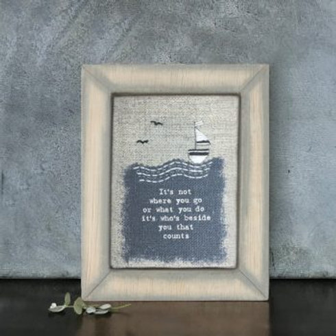 It's not where you go - wooden embroidered picture