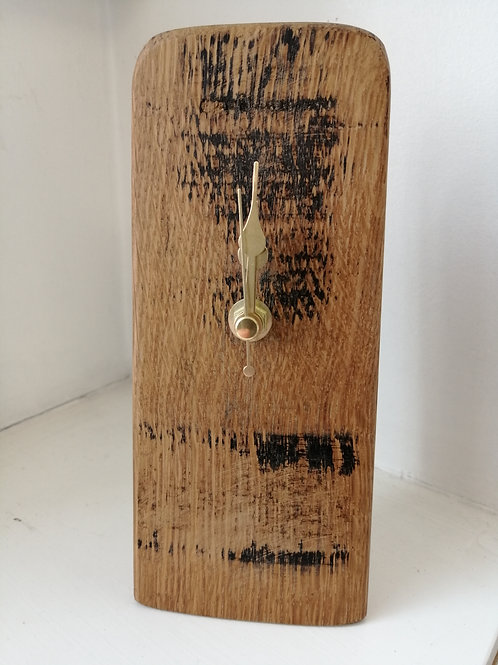 Small oak whisky barrel mantle clock