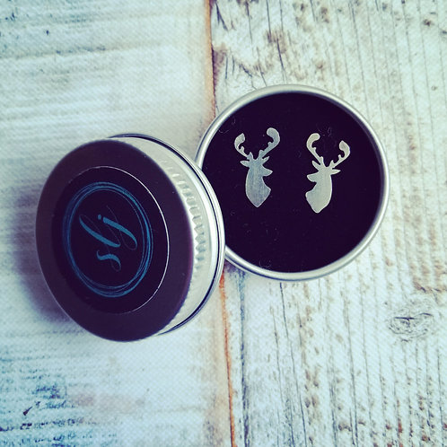 Stag sterling silver earring