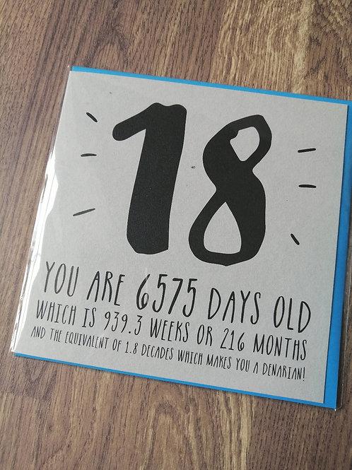 18th Birthday card - 6575 days