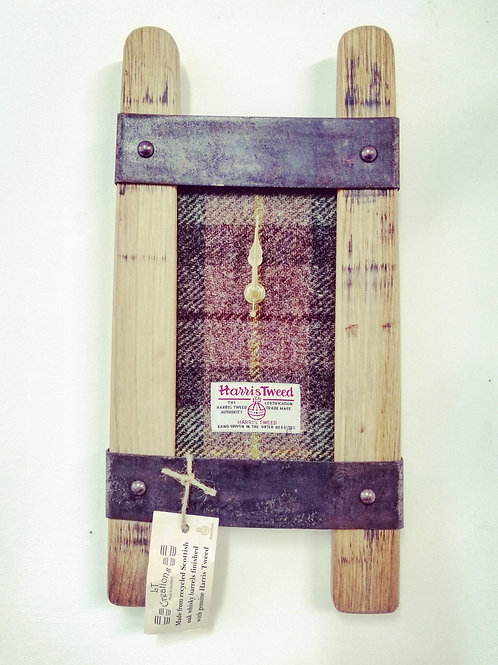 Double stave whisky barrel tweed clock