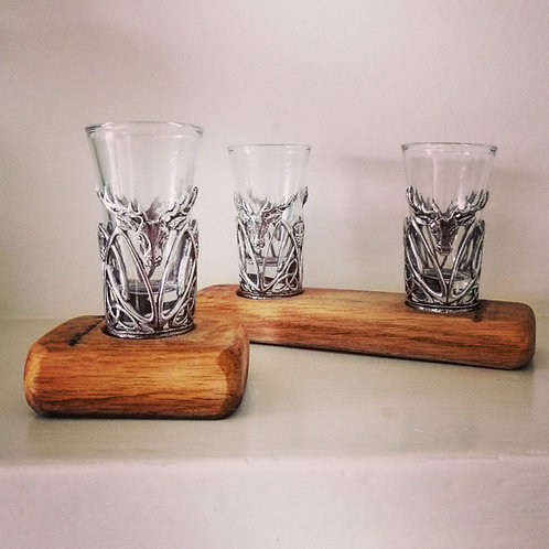 Single & double pewter shot glass sets