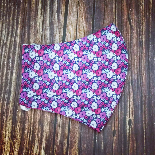 Female adult face coverings - purple ditsy  floral
