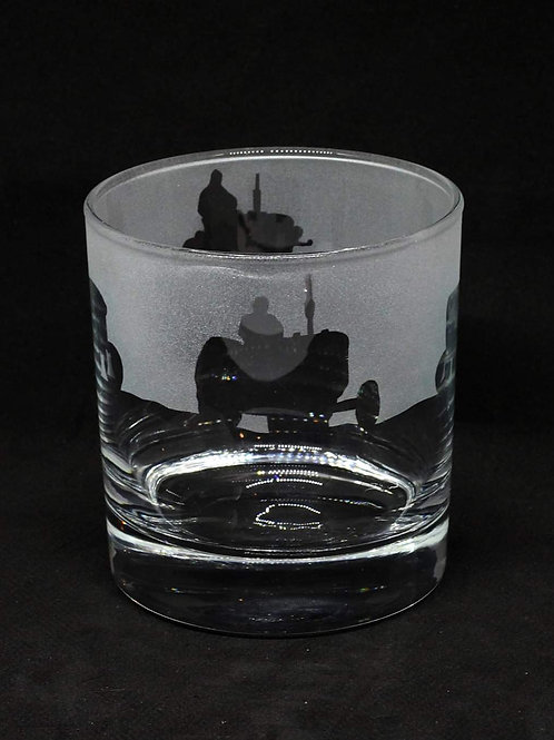 Tractor hand etched drinking glass