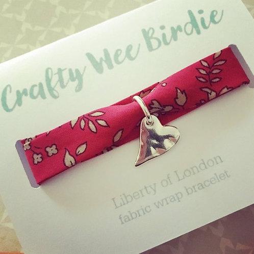 fabric wrap bracelet, heart charm, liberty of london fabric bracelet