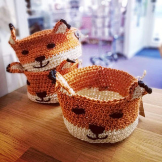 Crochet fox baskets
