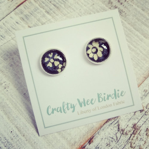 Navy stud earrings with Liberty of London fabric
