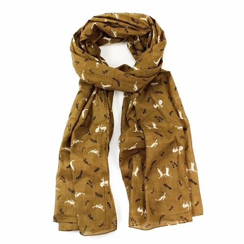 Mustard hare print scarf