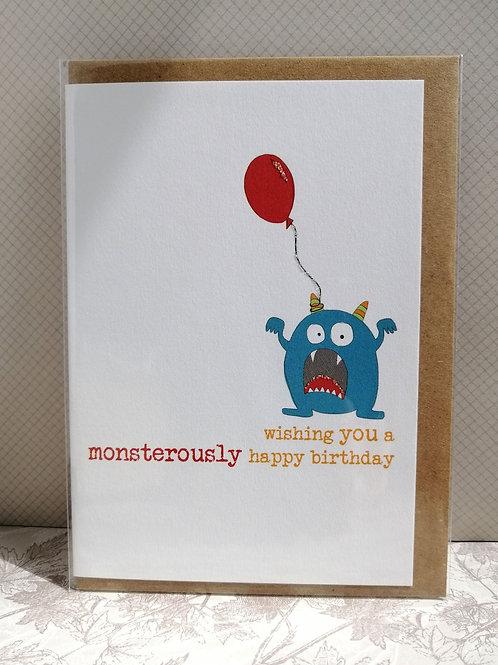 Monstrously happy birthday card