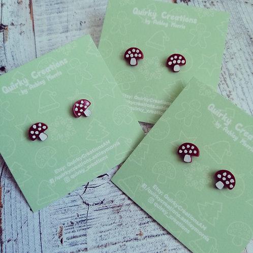 Red toadstool stud earrings