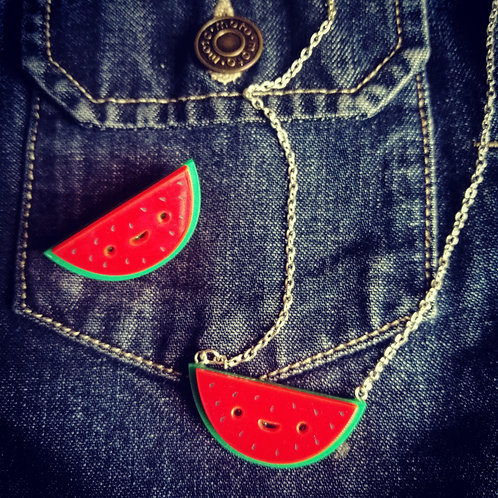 Watermelon brooch and necklace ( sold separately )
