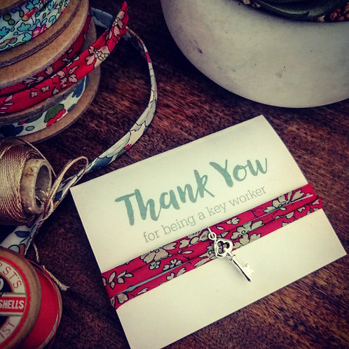 Thank you for being a key worker bracelet - Liberty fabric