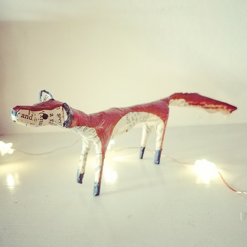Fox made from vintage book pages