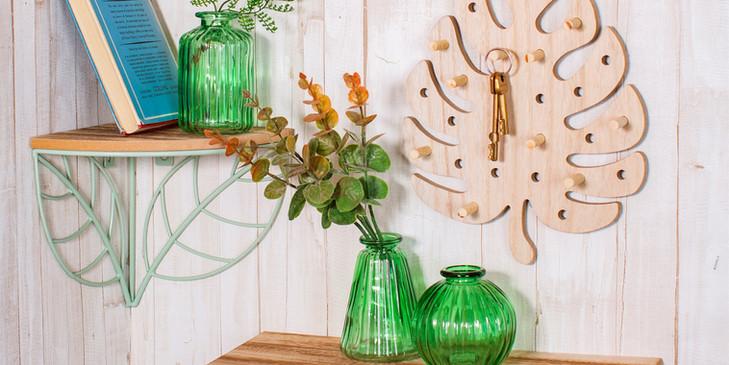 Set of 3 green glass vases