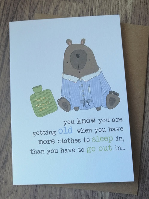 Birthday Card - clothes to sleep in