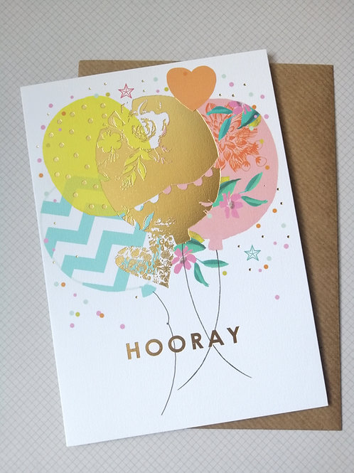 Hooray balloons card