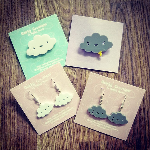 Angry cloud and happy cloud brooches & earrings ( sold separately)