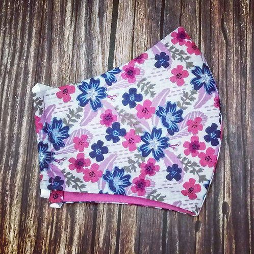 Female adult face coverings - purple and navy floral