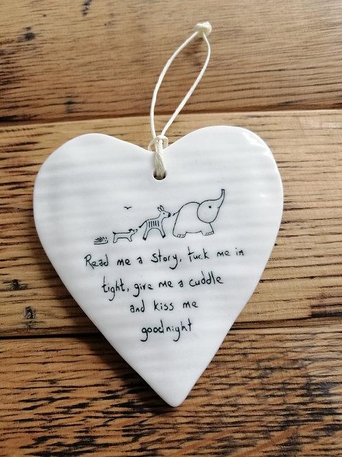 Porcelian heart hanger - read me