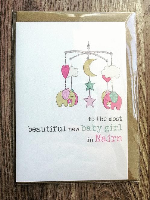 New Baby Girl  Card - Nairn