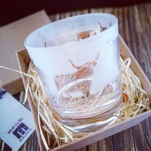 Highland Cow hand etched drinking glass