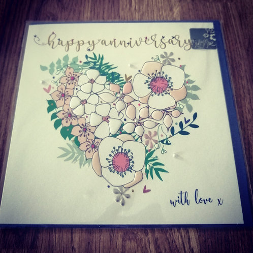 Heart wedding anniversary card