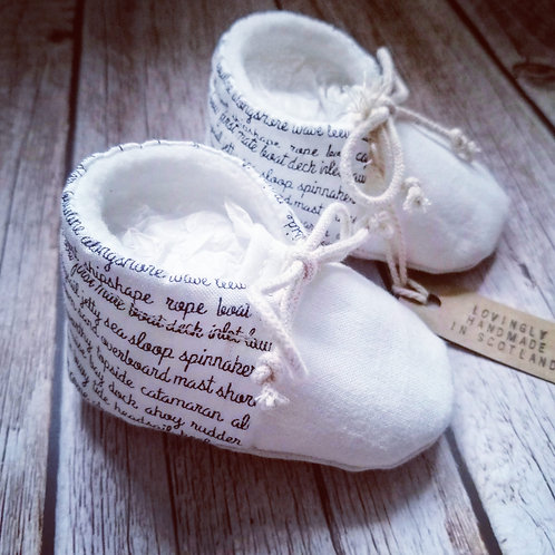 Baby booties - nautical words - 0-3months
