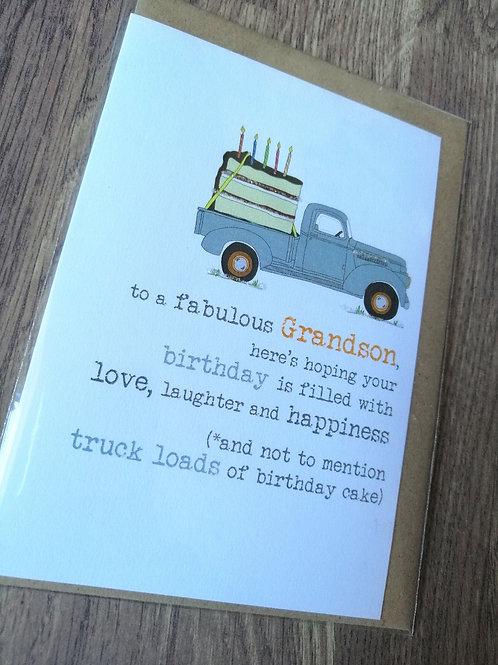 Fabulous Grandson Birthday card